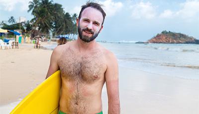 surfer posing